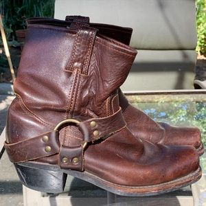 Brow leather harness Frye ankle boots